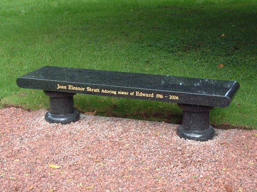Galloway Granite. Custom Memorials Memorial Bench, Strutt