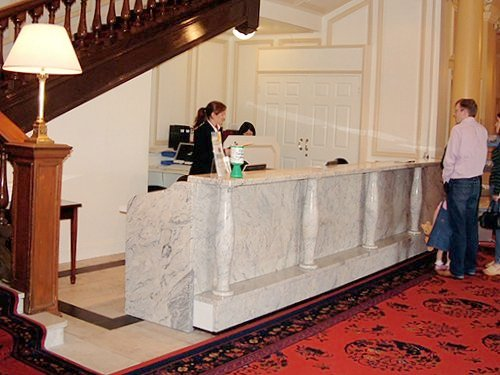Reception Desk, White with Pillars